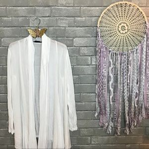 alice+olivia base // sheer white long cardigan xs